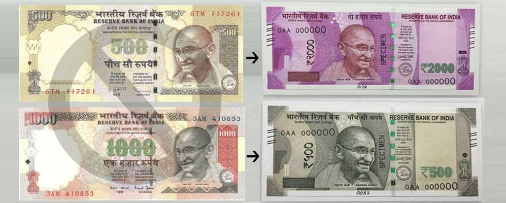 change 500 and 1000 rupee notes
