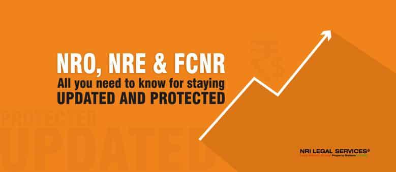 NRO NRE & FCNR types of bank account NRIs